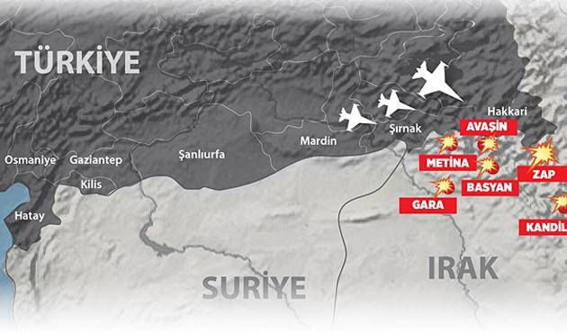 Zap Ve Metine'de terör hedefleri vuruldu