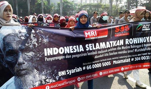 Endonezya'da Arakanlı Müslümanlara yönelik katliama protesto