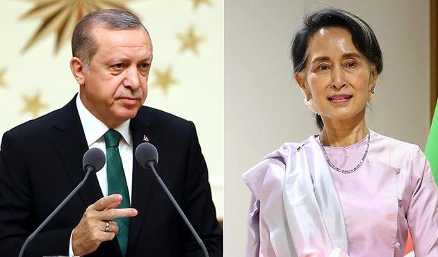 Erdoğan, Myanmar lideri Suu Çii ile 'Arakan'ı görüştü