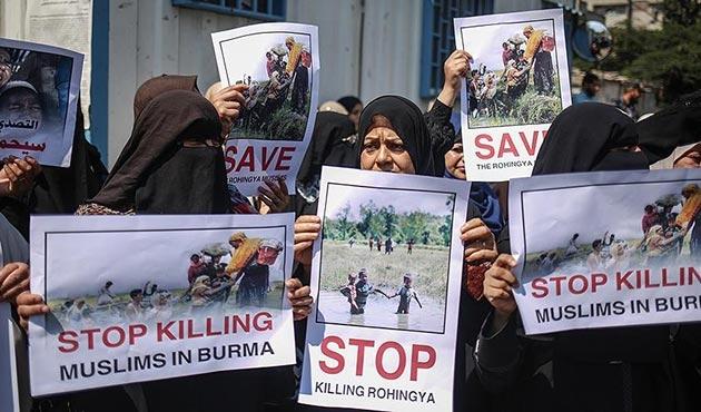 Arakanlı Müslümanlara yönelik saldırılara Gazze'de protesto