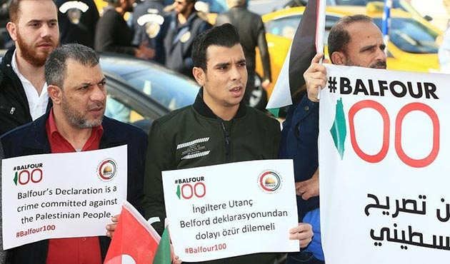 İngiltere Başkonsolosluğu önünde 'Balfour' protestosu