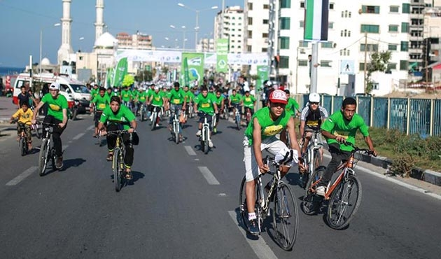 Gazze'de uzlaşıya destek için bisiklet ve koşu etkinliği