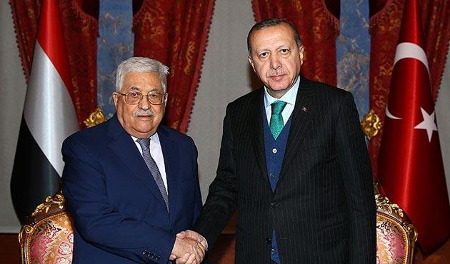 Cumhurbaşkanı Erdoğan, Filistin Devlet Başkanı Abbas'la görüştü