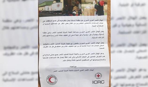 Afrin'deki PYD/PKK sığınaklarından Kızılhaç yardımı çıktı