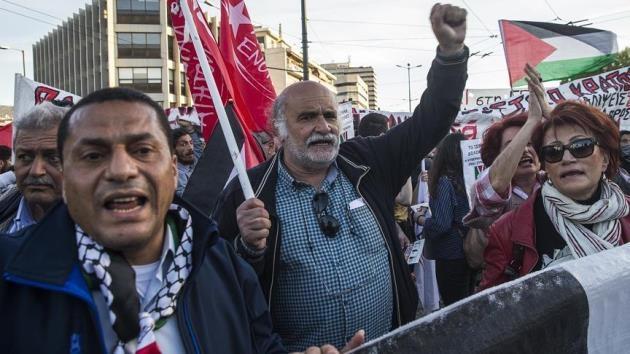 Atina'da Büyük Dönüş Yürüyüşü'ne destek gösterisi