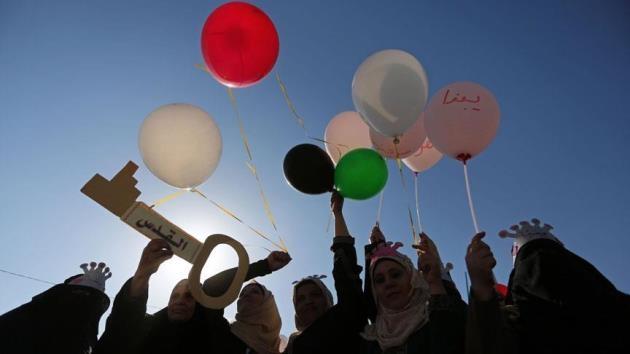 Gazzeli kadınlar özgürlük için gökyüzüne balon bıraktı
