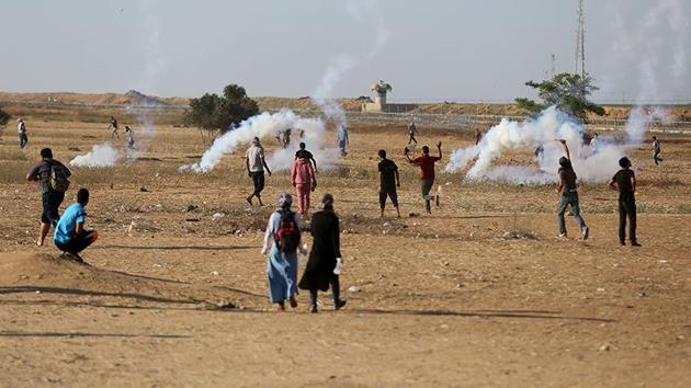 Gazze sınırında 'Milyonluk Kudüs' gösterisi başladı